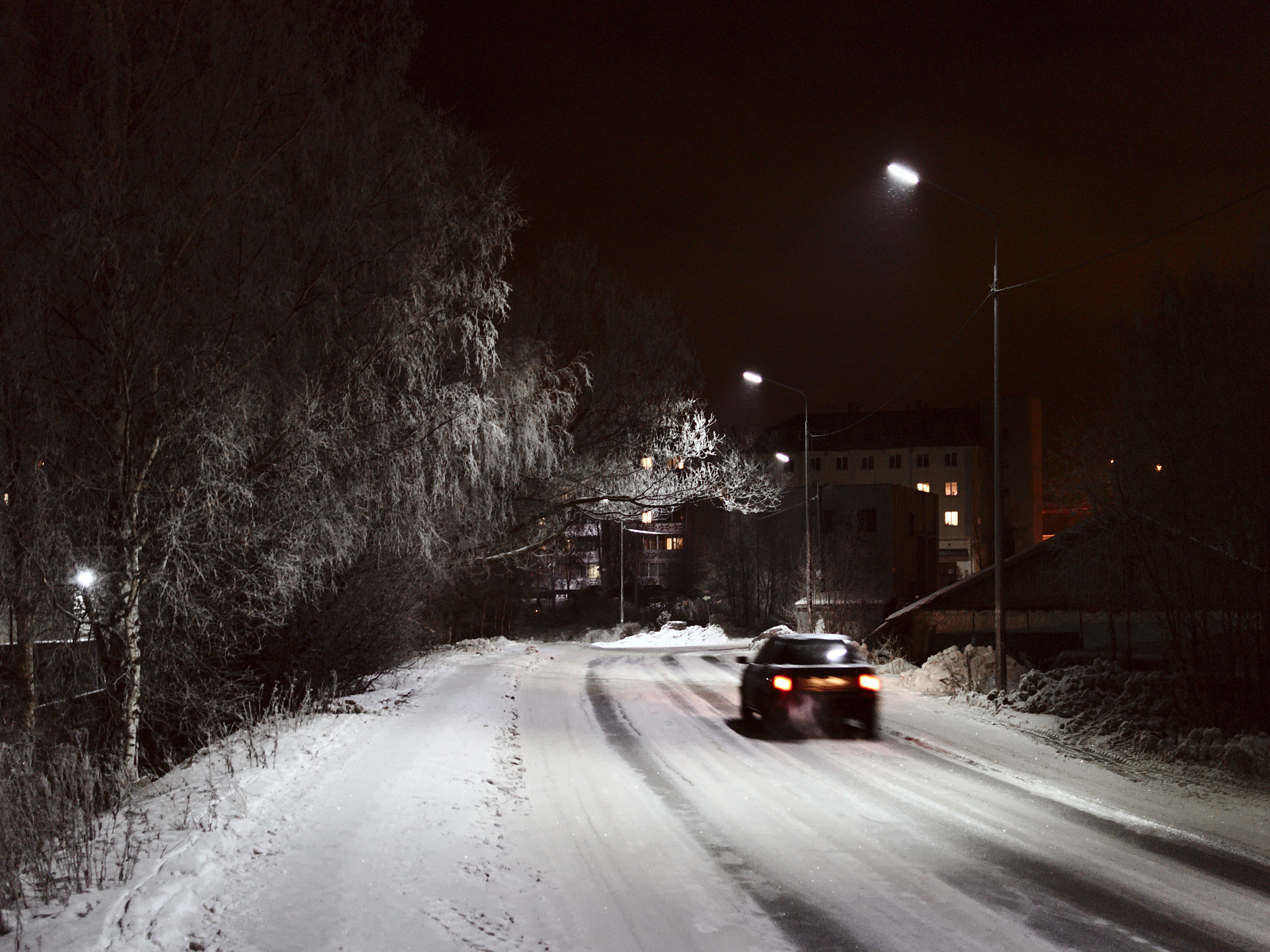Car With Road >> Winter night road